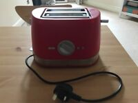 Excellent Sainsbury's cherry red two slice toaster