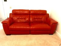 Real leather, Roso Red electric Recliner Sofa