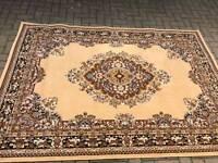 Brown vintage print damask swirl beige large rug matt low pile