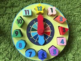 Melissa and Doug Wooden Shape Sorter Clock