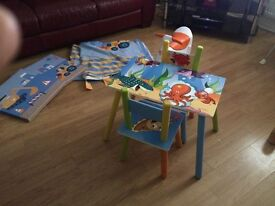 Kids table and chairs balance bike and digger pictures and curtains from next