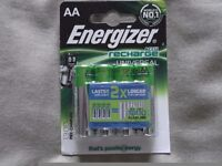 ,four 4 packs of energizer accu rechargeable batteries,they last twice as long