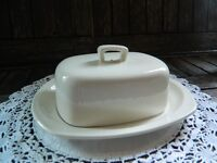 Vintage Stylecraft Midwinter Staffordshire Butter Dish and Lid in White