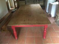 Antique pine farmhouse table for sale.