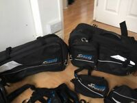 oxford motorbike panniers set, like new x2 40ltr + side panniers and large top pannier, extendable