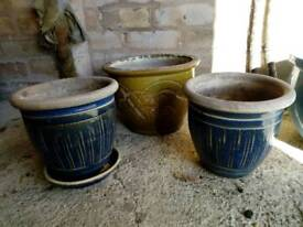 Three Glazed Garden Pots
