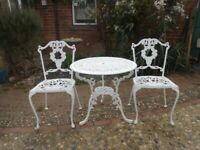 GARDEN FURNITURE SET - TABLE AND 2 CHAIRS - CAST ALUMINIUM