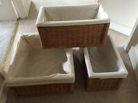 Lined Baskets for baby change table - mamas and papas