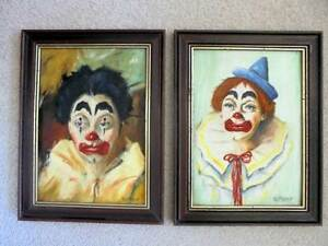 PAIR OF  ORIGINAL FRAMED OIL PAINTINGS OF CLOWNS North Sydney North Sydney Area Preview