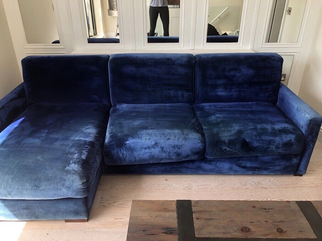 Fantastic Blue Velvet Chase Sofa Bed In Decent Condition Super Comfy Would Look New Upholstered In Maida Vale London Gumtree Creativecarmelina Interior Chair Design Creativecarmelinacom