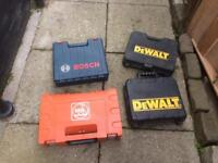 Bosch, Dewal and Fien power tool boxes.