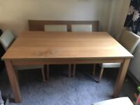 Oak effect dining table with 6 chairs