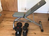 York Bench Adjustable - Heavy Duty & WR Sports 20KG Pair Dumbells / 12 KG Dumbells