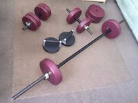 Good condition - Easily adjustable dumbbells, barbell and perfect push up equipment