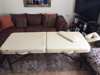 Massage Table- Cream with wooden legs. Carry bag included