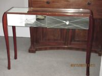 LAURA ASHLEY GLASS TOPPED CONSOLE TABLE.
