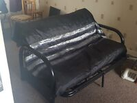 Black metal frame sofa bed