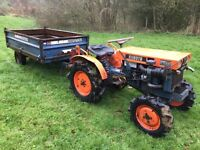 Kubota B7000 4WD Compact tractor and Marston tipping Trailer, other Attachments available