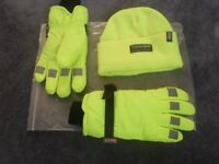 THINSULATE THERMAL HAT AND GLOVE SET - HI VIZ DETAIL ON GLOVES NEW NEVER WORN