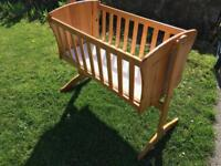 Swinging crib and bumper set free local delivery