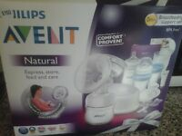 Electric breast pump with accessories