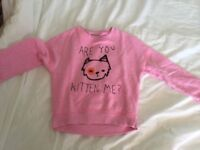 Pink jumper cat design 7 years