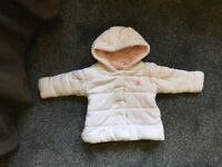 Next Soft Pink 6/9 Months Padded Winter Coat