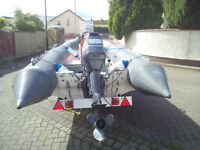 avon 5.4mtr rib boat, with trailer, yamaha 70hp 2 stroke and garmin striker fish finder.
