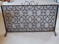 Vintage Wrought Iron Fire Spark Guard Screen - Black
