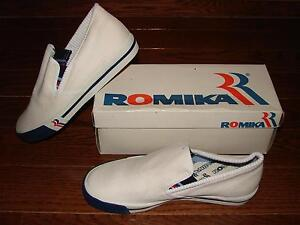 Vintage Early 1980s Romika Laser Canvas Slip-on Sneakers