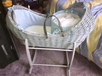 Clare De Lune Moses basket, rocking stand, various sheets and blankets
