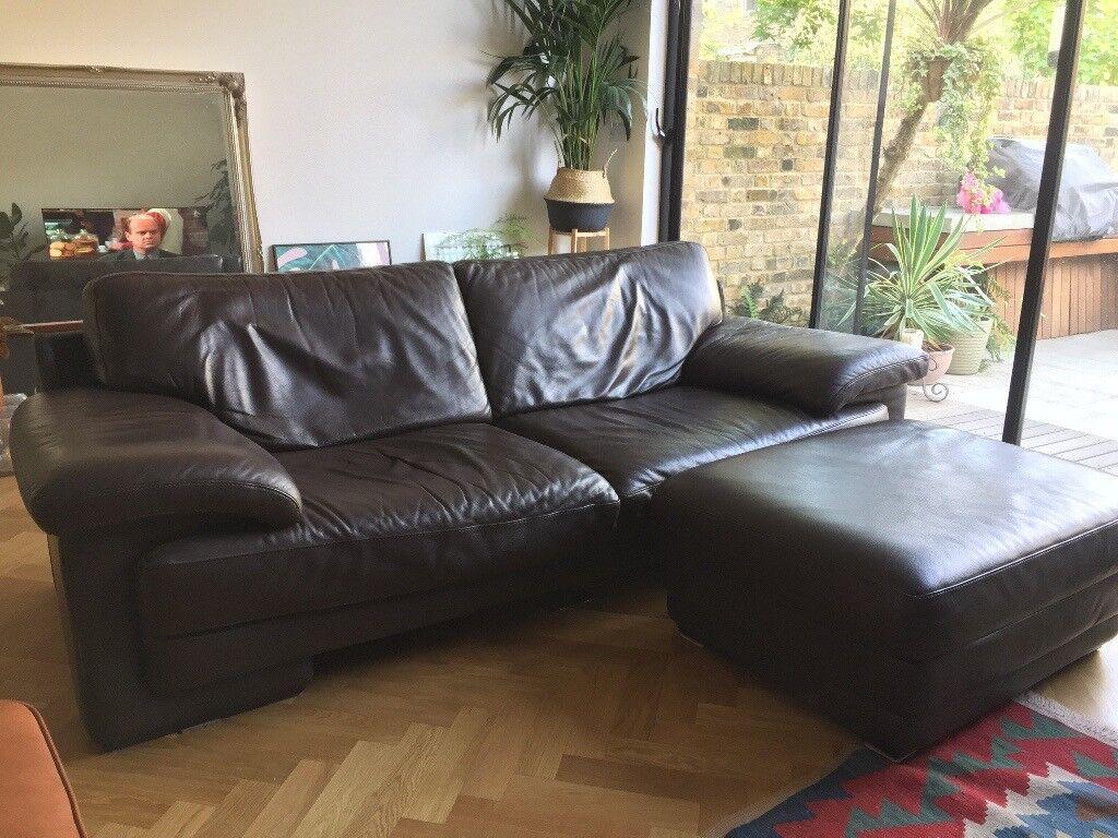Natuzzi Italian Brown Leather Sofa