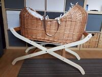 Mothercare The Snug Moses Basket with stand, mattress and sheet
