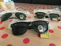 NEW BOXED UV400 Ray Ban Aviator Clubmaster Wayfarer Black Sunglasses Shades Summer - Fits all Faces