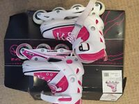 In line roller skates size 3 -6 pink excellent condition