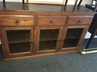 Striking Large Mexican Hardwood Rustic 3 Door 3 Drawer Sideboard Cabinet Cupboard