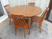 Vintage Drop Leaf Dining Table and 4 Chairs