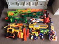 Collection of Nerf Guns and Accessories