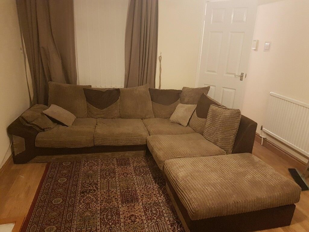 Brown Corduroy Corner Sofa And Swivel Chair Will Separate
