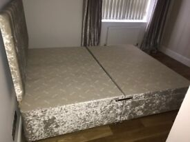 King Size bed frame with headboard and 4 drawers