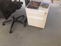 White lockable office pedestal/under desk drawer on castors £69 each