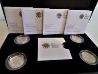 STUNNING - .925 SILVER PROOF FINISH 2010 & 2011 CAPITAL CITY FOUR ONE POUND COIN PRESENTATION SET