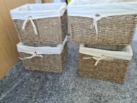 Wicker Storage Basket With Removable Lining × 4