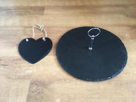 Slate cheeseboard and slate heart sign