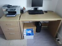 Desk and 3 drawer unit