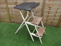 vintage metal folding stool with 2 fold out steps Industrial workshop type.