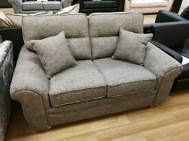 Beautiful grey fabric full back 2 seater sofa with cushions