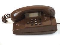Vintage 1980s British Telecom 'Statesman' Telephone Phone 'Chocolate Brown' Push-Button.