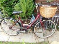 ladies hybrid raleigh caprice 19 inch frame bike with new wicker basket and lock