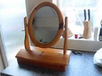 PINE DRESSING / MAKE UP MIRROR IS BRAND NEW HAS COMPARTMENT FOR MAKE UP ETC
